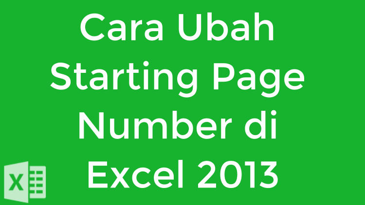 how to change starting page number in excel